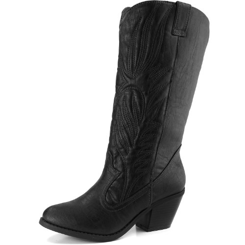 Qupid MUSE-64 Women's Western Almond Toe Classic Chunky Knee High Boot, Color:BLACK, Size:5.5