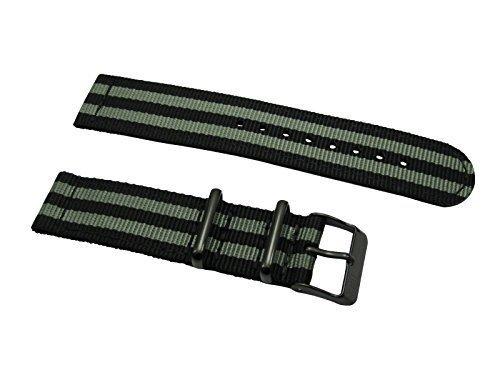 HNS-2-Pieces-22mm-G10-Mod-James-Bond-007-Black-Grey-Nylon-Watch-Strap-PVD-buckle-NT137