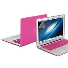 GMYLE(R) Hard Case Frosted for MacBook Air 11 inch - Hot Pink 3 in 1 Rubberized (Rubber Coated) Hard Case Cover - Silicon Keyboard Protector - Clear LCD Screen Protector