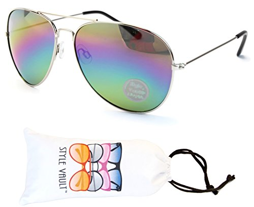 A120-vp Style Vault Aviator Metal Sunglasses (B2354F Silver-Rainbow, - Aviators Rainbow