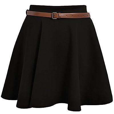 Women's Belted Skater Flared Jersey Plain Mini Party Dress Skirt Medium / Large Black