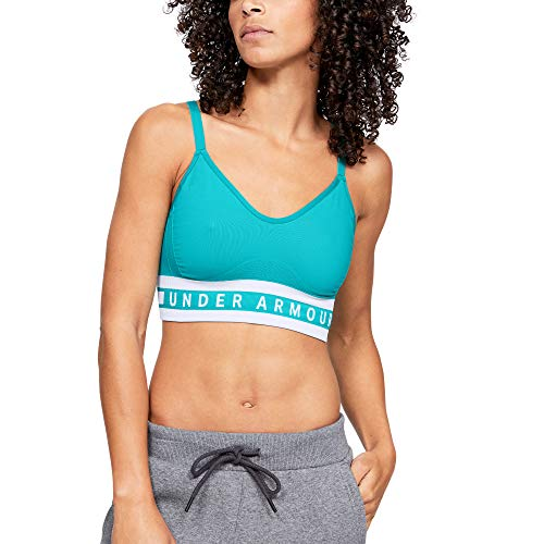 Under Armour Women's Seamless Longline Bra, Breathtaking Blue (400)/White, Medium (Imported Accessories)