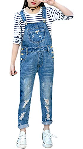 Price comparison product image Vshop-2000 Girls Distressed Denim Overalls Blue Jeans Strecthy Solid Color Jeans Romper Big Kids