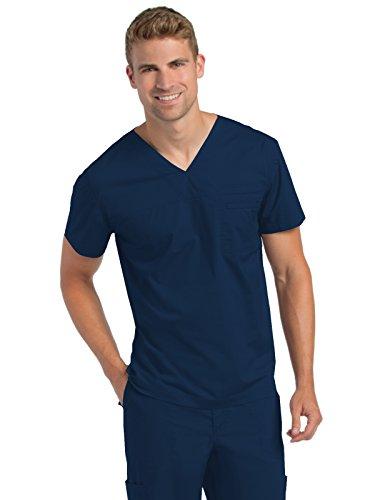 Landau Men's Premium Medical Uniform Stretch 2-Pocket V-Neck Scrub Top, NAVY, - Top 2 V-neck Pocket Scrub