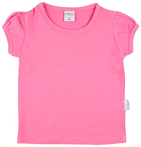 Lovetti Girls' Basic Short Puff Sleeve Round Neck T-Shirt 12 Hot Pink - Girls Pink Fashion Jersey
