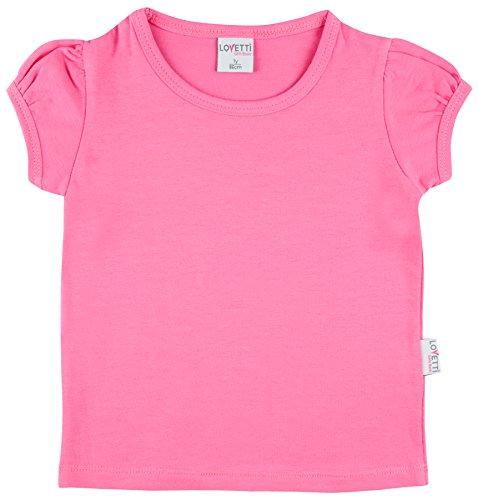 Lovetti Girls' Basic Short Puff Sleeve Round Neck T-Shirt 7 Hot Pink