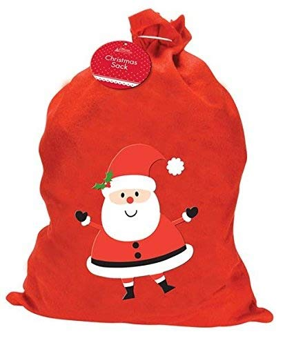 1 X LARGE FATHER CHRISTMAS SANTA SACK RED STOCKING GIFT PRESENTS XMAS by Home Collection