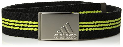 adidas Golf Stripe Webbing Belt, Black Heather/Semi Solar Yellow, One Size