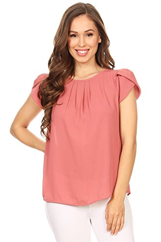 VIA JAY's Basic Casual Simple Short Puff Sleeve Relaxed Blouse TOP (Mauve, 2X) ()