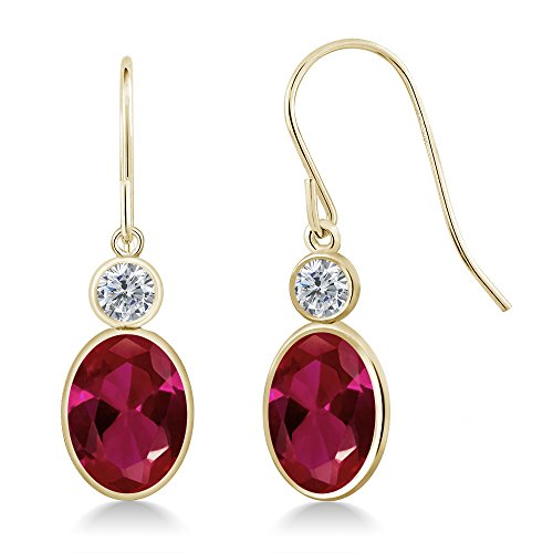 2.50 Ct Oval Red Created Ruby G/H Diamond 14K Yellow Gold Earrings