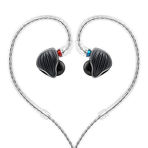 FiiO FH5 Best Over The Ear Headphones/Earphones Detachable Cable Design Quad Driver Hybrid (1 Dynamic + 3 Knowles BA) in-Ear Monitors (Black)