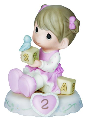 Precious Moments,  Growing In Grace, Age 2, Bisque Porcelain Figurine, Brunette Girl, 142011B