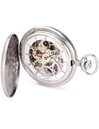 3906-W Premium Collection Stainless Steel Satin Finish Hunter Case Mechanical Pocket Watch