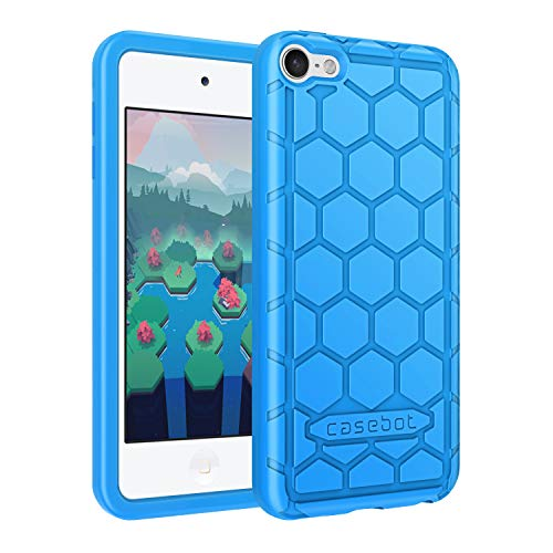 Fintie Silicone Case for iPod Touch 7 iPod Touch 6 iPod Touch 5 - (Honey Comb Series) Impact Shockproof Anti Slip Soft Protective Cover for iPod Touch 7th 6th 5th (Kids Friendly), Blue (Ipod Touch Covers For Kids)