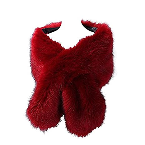 Elegant Handmade Premium Faux Fox Fur Casual, Party/Evening Shawls, Scarf Wraps (Red)