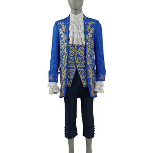Mens Aristocrat Costumes (Mens Aristocrat Suit Bete Prince Charming Halloween Costumes Cosplay Full Set)