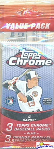2013 Topps Chrome Baseball EXCLUSIVE Factory Sealed Jumbo Value Pack with (3) Packs Plus (3) SPECIAL ORANGE REFRACTORS that can only be Found in these Packs! Look for Rookies & Auto