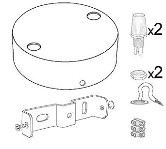 Lampenbaldachin Kit Zylinder mattschwarz mit schwarzer konischer Kunststoff-Zuge