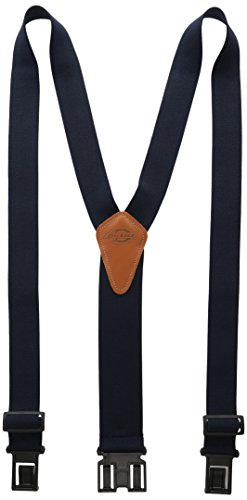 Dickies Heavy Duty Clip Suspenders - Men's Adjustable Y Back Straps with Clips for Work Pants,Navy,One sizee