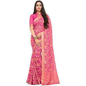 d71aabaff5 KUPINDA Kanjivaram Style Chiffon Saree Color: Pink (4186-2174-SD-STRW)