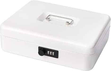 Caja metálica segura con bandeja de dinero y cerradura de combinación, caja de dinero con 5 compartimentos, bandeja de dinero de 11 4/5