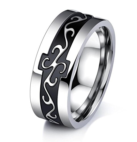 Mintik Men's Dragon Totem Wedding Band Size 7- 11 Available Stainless Steel Vintage Celtic 7mm Wide Boys Mens Anniversary Valentine Ring