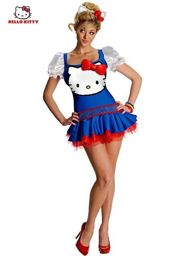 [Hello Kitty Blue Classic Costume - Large - Dress Size 12-14] (Sexy Hello Kitty Costumes)