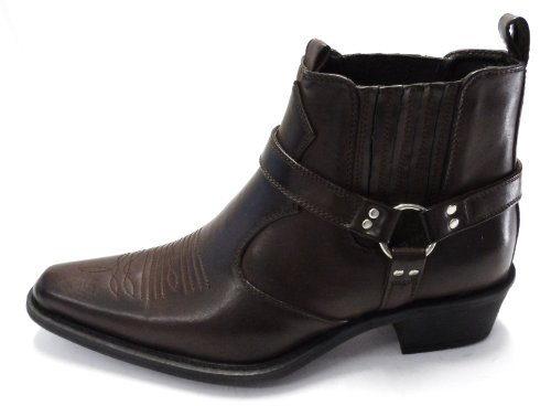 MENS US BRASS DARK BROWN ANKLE HARNESS EASTWOOD M183DB UK8/EU42