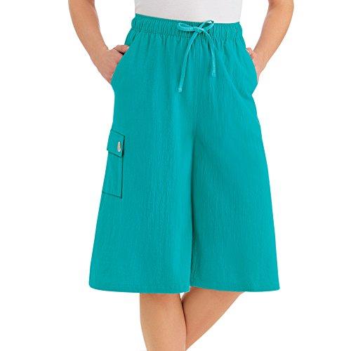 Women's Crinkle Cotton Gauze Clothing Cargo Pocket Elastic Waist Split Skirt, Turquoise, Medium