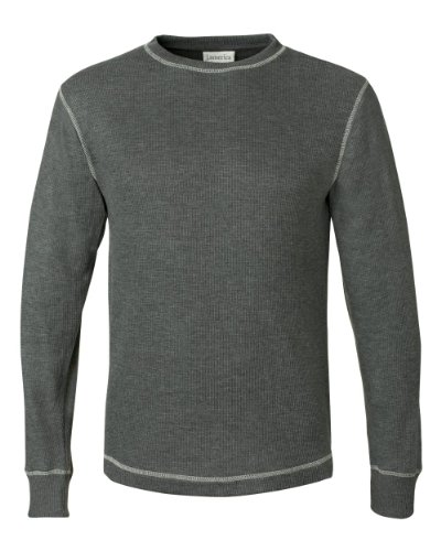 J-America Adult Vintage Long Sleeve Thermal Tee - Charcoal Heather (60/40) - M