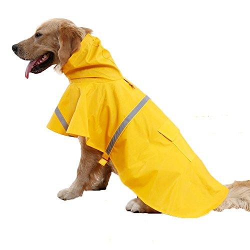 Venus Wolf Hund Regenmantel/Regenjacke Hunderegenmantel Wasserdicht Kleidung pet dog Raincoat mit reflektierende Streifen (Gelb, M)