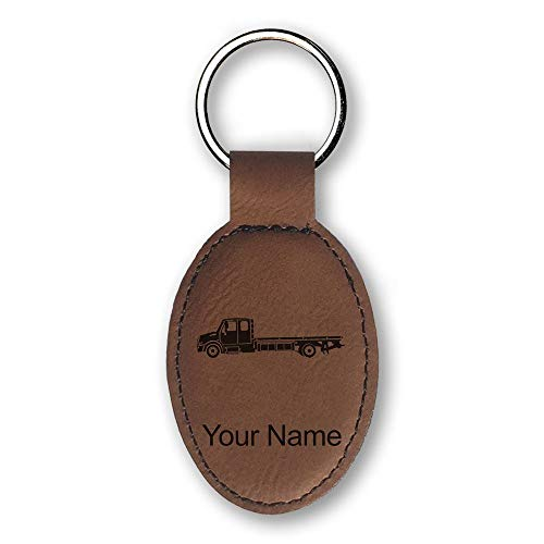 Oval Keychain, Flat Bed Tow Truck, Personalized Engraving Included (Dark Brown)