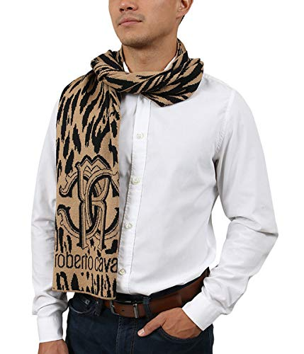 (Roberto Cavalli ESZ025 03506 Camel Wool Blend Leopard Print Mens Scarf for Mens)