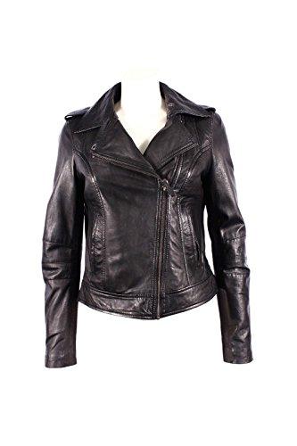 Mesdames BRANDO 442 New Black Biker Style de moto souple Napa Rock Veste en cuir