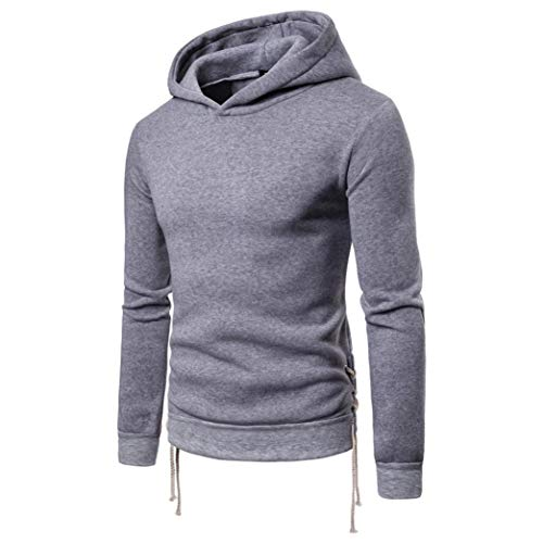 kaifongfu Hooded, Mens Long Sleeve Bandage Hoodie Pullover Outwear TopsGrayXL by kaifongfu-mens clothes (Image #1)