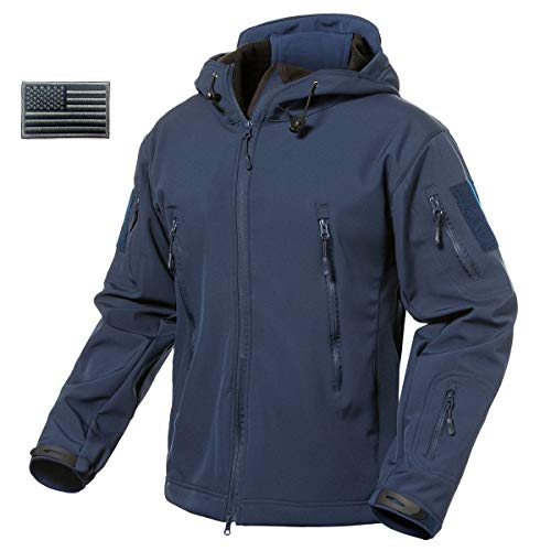 ReFire Gear Men's Army Special Ops Military Tactical Jacket Softshell Fleece Hooded Outdoor Coat, Navy Blue, X-Large