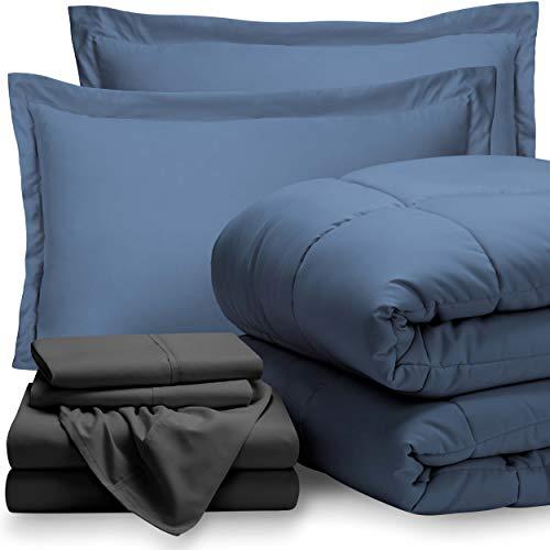 (7-Piece Bed-In-A-Bag - Queen (Comforter Set: Coronet Blue, Sheet Set: Grey))