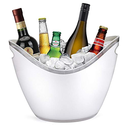 Ice Bucket 8 Liter Beverage Tub For Parties Weddings Bar Wine Champagne Beer Alcohol Fruit Bowl, Clear Acrylic Plastic Party Bottle Chiller, Large Drink Holder With Handles Indoor and Outdoor SILLIA