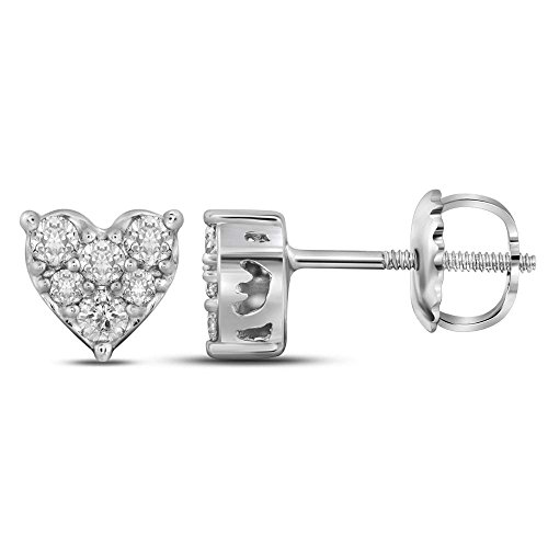 14kt White Gold Womens Round Diamond Heart Cluster Stud Earrings 1/3 Cttw (Birthstone Cluster 14kt Earrings Gold)