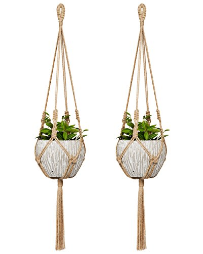 - Mkono Small Macrame Plant Hangers Jute Hanging Planter 30 Inch (Fit Small Pot Up to 6 Inch) Indoor Wall Window Container Holder Basket Home Decor, 2 Packs