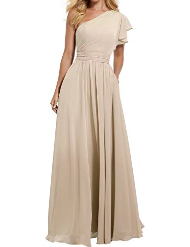 One Shoulder Prom Gown - RJOAM Women's One Shoulder Bridesmaid Dress Long Asymmetric Prom Evening Gown Champagne Size 8