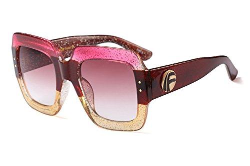 FEISEDY Oversized Square Sunglasses Multi Tinted Glitter Frame Stylish Inspired - Rectangular Oversized Sunglasses