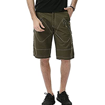 Cheap Plaid&Plain Men's Summer Cargo Shorts 100% Cotton Shorts With Multi Pockets