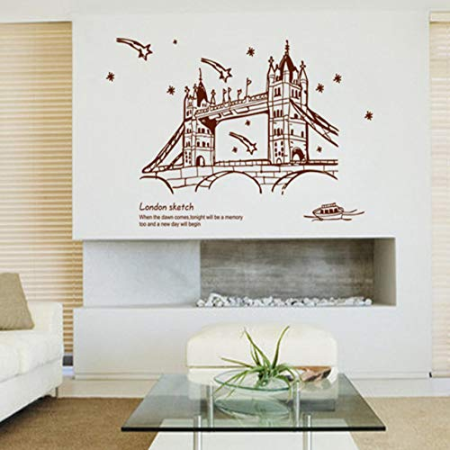 Pbldb London Sketch Wall Sticker Bridge Stickers DIY PVC Art Living Room Decals Wallpaper Scenery Poster Home Decoration 6090Cm -