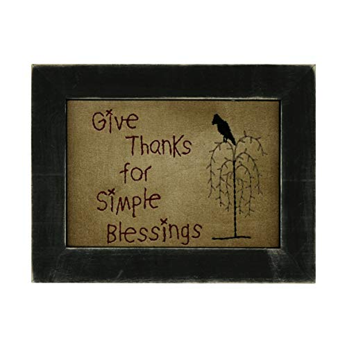 (CVHOMEDECO. Primitive Antique Crow on Willow Tree Stitchery Frame Wall Mounted Hanging Decor Art, 9