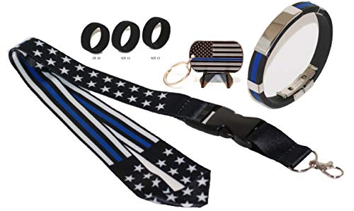 Stars and Stripes Thin Blue Line Lanyard/Key Chain/Wristband with Chrome Accents and (3 Sizes) Tactical Active Wear Rings (The Brand With The Three Stripes Lanyard)