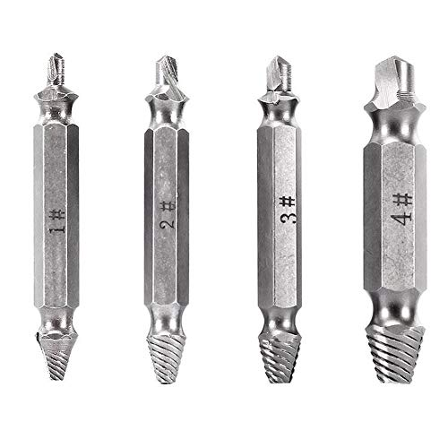 Tcplyn Pack of 4 Damaged Screw Remover Durable Bolt Stripped Extractor Easily Remove(Black)