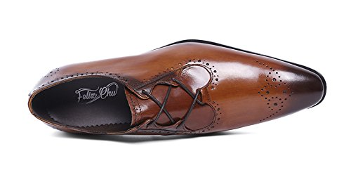 Felix Chu Men's Italian Designer Luxury Perfect Genuine Calf Leather shoes, Brown, 9 D(M) US by Felix Chu (Image #2)