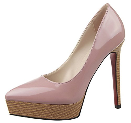 HooH Damen Wood Grain Platform Stiletto Pumps 9266-2 Lila