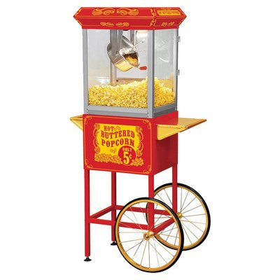 Funtime FT860CR Antique Carnival-Style 8-Ounce Hot-Oil Popcorn Popper with Cart, Red by Funtime